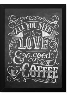 Quadro Decorativo 33X43Cm Nerderia E Lojaria Lousa Love And Coffee Preto