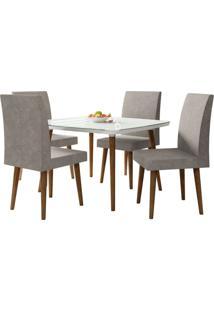 Mesa De Jantar Com 4 Cadeiras Jade Pés Palito Branco Clean Com Pena Caramelo Rv Móveis