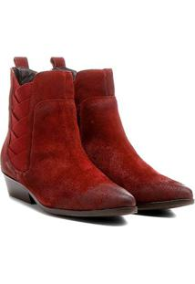 Bota Couro Chelsea Shoestock Bico Fino Elásticos Transpassados Feminina - Feminino-Vinho
