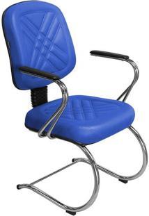 """Cadeira Diretor Azul Fixa Com Pés Em """"S"""" E Braços Cromado - Pethiflex"""