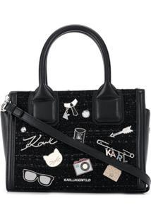 Karl Lagerfeld Bolsa Tote K/Klassik Pequena De Tweed Com Pins - Preto