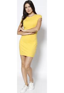 Vestido Com Bordado Da Marca- Amarelojavali