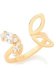 Anel Skinny Ring Asa De Borboleta E Zircônia Branca Rommanel - Feminino-Dourado