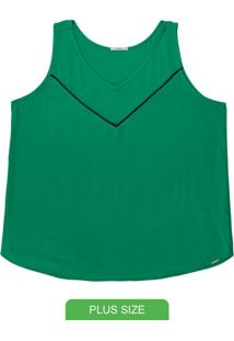 Blusa Plus Size Sem Manga Verde