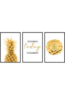Quadro 60X120Cm Abacaxi Dourado Com Frase- Decorativo Moldura Preta Com Vidro