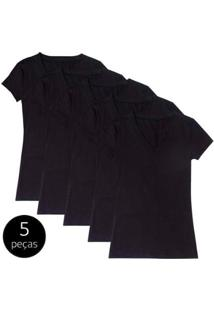 Kit Com 5 Blusas Part.B Decote V - Feminino-Preto