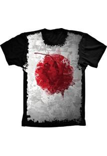 Camiseta Manga Curta Lu Geek Flag Japão Preto