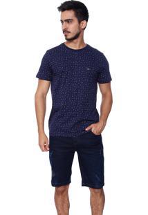 Bermuda Vide Bula Básica Jeans Com Lavagem E Puídos Azul