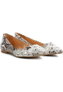Sapatilha Shoestock Bico Fino Cobra Bordada Feminina - Feminino-Off White
