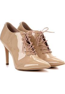 Ankle Boot Couro Jorge Bischoff Bico Fino Verniz - Feminino-Nude