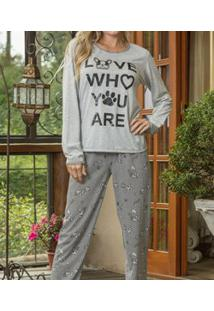 Pijama Longo Mesclado Bulldog Lua Cheia (9050) Poliviscose