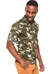 Camisa Gangster Estampada Verde
