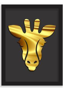 Quadro Decorativo Em Relevo Espelhado Zebra Dourada Preto - Grande