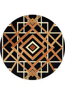 Tapete Marbella Reims Redondo (150X150Cm) Caramelo E Preto