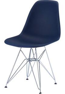 Cadeira Com Encosto Polipropileno Flórida Siena Móveis Azul Marinho