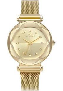 Relógio Technos Crystal 38Mm Aço Feminino - Feminino-Dourado