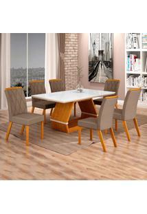 Conjunto De Mesa De Jantar I Com 6 Cadeira Esmeraldas Veludo Branco E Camurça