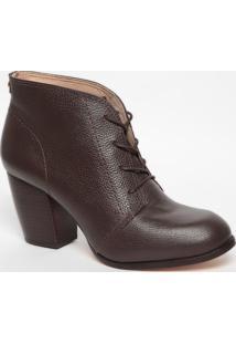Ankle Boot Em Couro Com Amarração- Marrom Escuro- Sajorge Bischoff