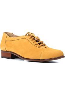 Oxfords Couro Shoestock Nobuck Amarração Feminino - Feminino-Mostarda