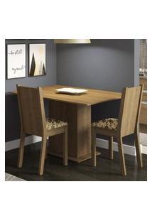 Conjunto Sala De Jantar Madesa Mel Mesa Tampo De Madeira Com 2 Cadeiras Rustic/Bege Marrom