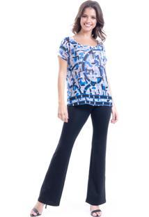 Blusa 101 Resort Wear Tunica Crepe Renda Estampada Azul