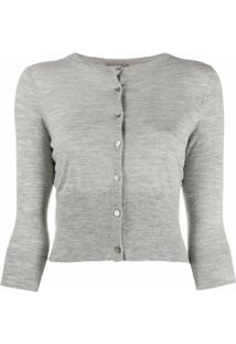 N.Peal Cardigan Cropped De Cashmere - Cinza