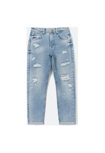 Calça Boyfriend Jeans Com Puídos E Barra Dobrada