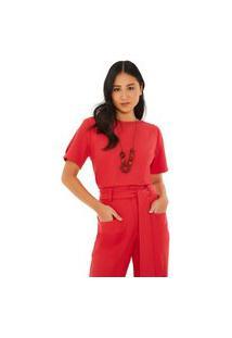 Blusa Maria Valentina Decote Redondo Manga Curta Com Colar Vermelho