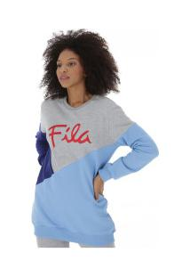 Blusão De Moletom Fila Up Light - Feminino - Cinza/Azul Cla
