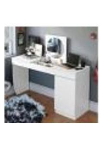 Penteadeira Escrivaninha Crystal Com Tampo Basculante E 01 Porta Branco Fosco Möbler