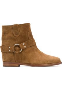 Via Roma 15 Ankle Boot Slip-On Texturizado - Marrom