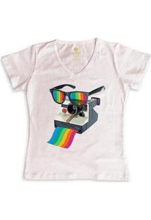 Camiseta Gola V Cool Tees Camera Pride Vision Feminina - Feminino-Rosa