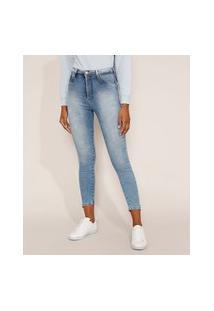 Calça Jeans Feminina Cintura Alta Sawary Super Skinny Push Up 360 Marmorizada Com Barra Degrau Azul Claro