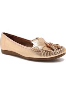 Sapato Mocassim Zariff Shoes Barbicacho Dourado