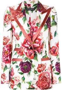Dolce & Gabbana Blazer 'Peony' Estampado - Branco