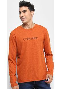 Camiseta Calvin Klein Regular Manga Longa Masculina - Masculino-Laranja