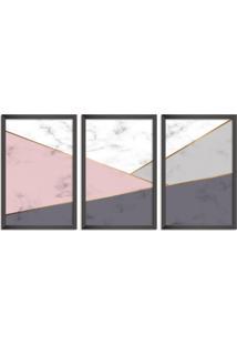 Quadro Oppen House 60X120Cm Abstrato Escandinavo Coloridos Geométrico Triangulos Moldura Preta Sem Vidro Mod: Oh5710