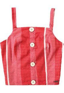 Blusa Vermelho Estampada Listrada Enfim