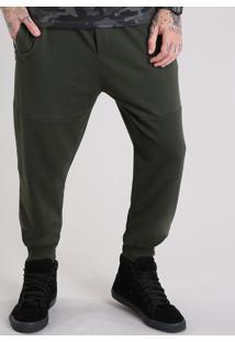 Calça Masculina Jogger Em Moletom Com Bolsos E Zíper Verde Militar