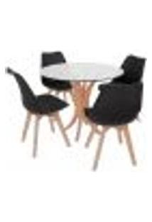 Conjunto Mesa De Jantar Tampo De Vidro 90Cm Com 4 Cadeiras Leda - Preto