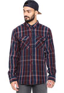Camisa Volcom Azul-Marinho/Vinho