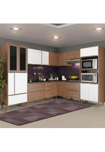 Cozinha Compacta 19 Portas Com Tampo E Pés 5461 Nogueira/Branco - Multimóveis