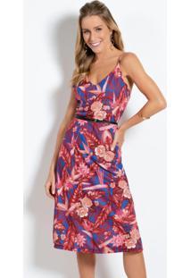 Vestido Curto Floral Vermelho Com Alças
