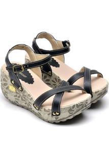 Sandalias Top Shoes Franca Feminina - Feminino-Preto
