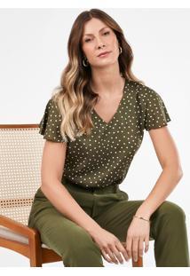 Blusa Feminina De Poá Verde Militar Nilda