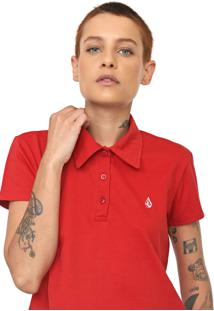Camisa Polo Cropped Volcom Heather Stone Vermelha