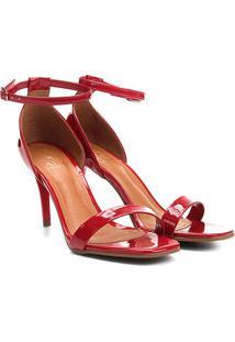Sandália Ala Salto Fino Verniz Bico Quadrado Feminina - Feminino-Vermelho