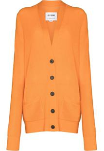 Re/Done Cardigan Oversized De Lã - Laranja