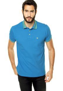 Camisa Polo Iódice Denim Bordado Azul