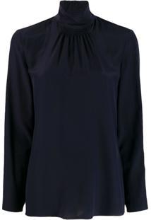 Red Valentino Suéter Gola Alta Com Franzido - Azul